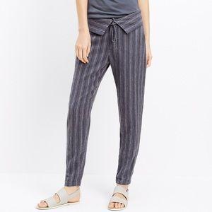 Vince foldover waist striped linen pants